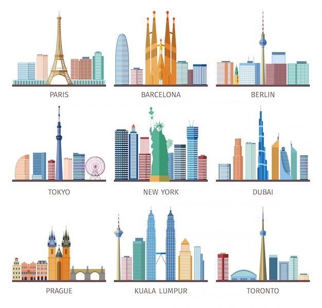 Steden skylines icons set Gratis Vector