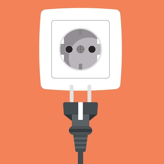 Steek de stekker in het witte stopcontact pictogram Premium Vector