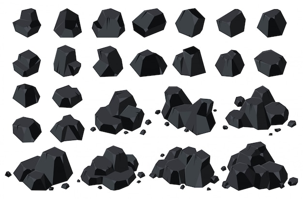 Steenkool van energie geïsoleerde cartoon icoon. Premium Vector