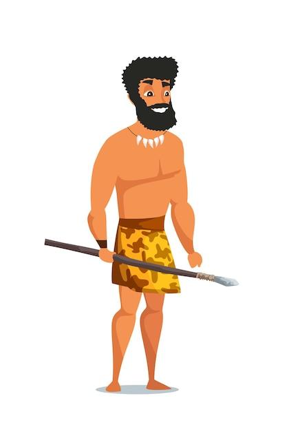 Steentijdman met speer, primitief oud mannelijk karakter. Premium Vector