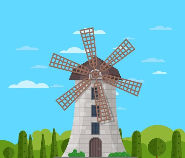 Steenwindmolen die op aardachtergrond voortbouwen Premium Vector