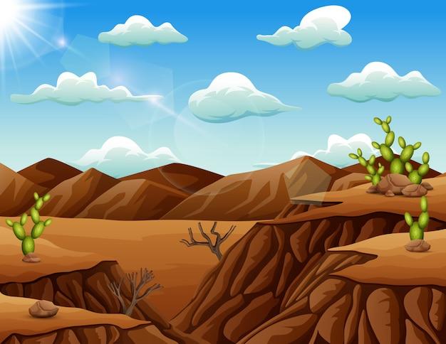 Steenwoestijnlandschap met cactus Premium Vector