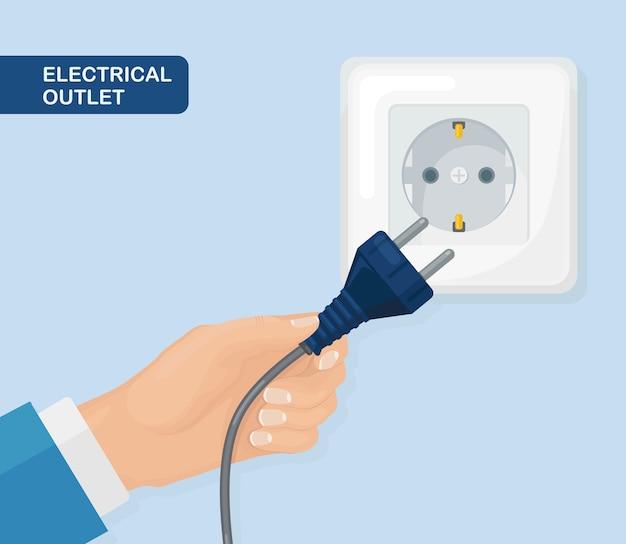 Stekkerdoos met stekker in de hand. elektriciteit. home elektrisch aansluiten en loskoppelen Premium Vector