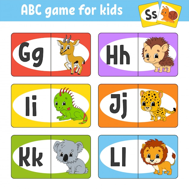 Stel abc-flashkaarten in. Premium Vector
