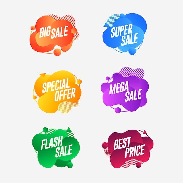 Stel abstracte kleurrijke vloeibare geometrische verkoop banner Premium Vector