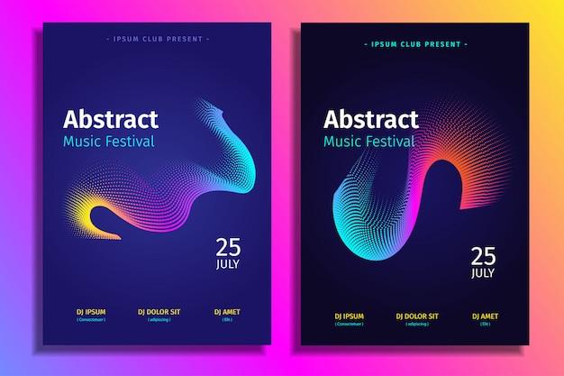 Stel abstracte muziek elektronische poster sjabloon met verloop vorm Premium Vector