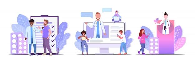 Stel artsen in die consulting raadplegen en medicijnen geven om racepatiënten gezondheidszorg geneeskunde concepten collectie horizontale volledige lengte te mengen Premium Vector