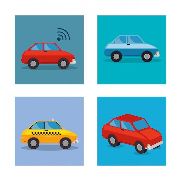 Stel auto's stijlen pictogrammen Gratis Vector