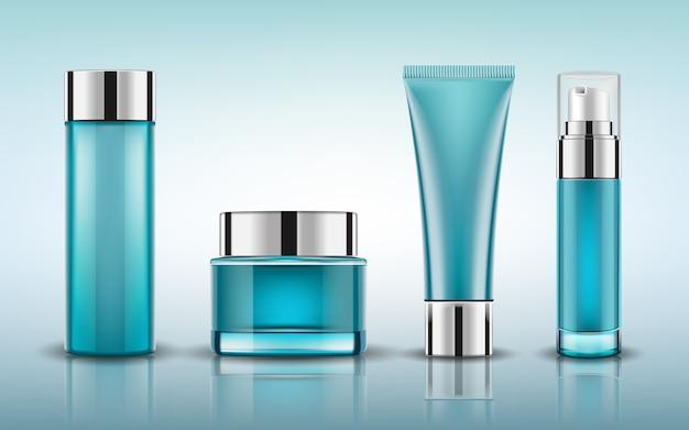 Stel blauwe make-up voor cosmetische flessen in Premium Vector