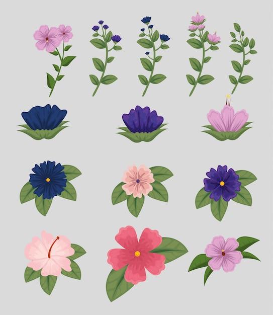 Stel bloemen planten met bladeren aard Gratis Vector