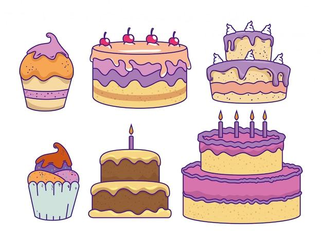 Stel cakes met kersen en zoete muffins Gratis Vector