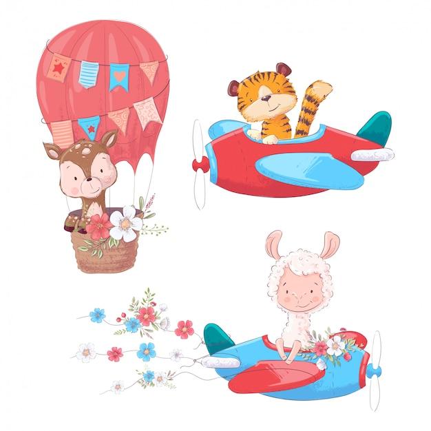 Stel cartoon schattige dieren tiger deer en lama op een vliegtuig en ballon kinderen clipart. Premium Vector