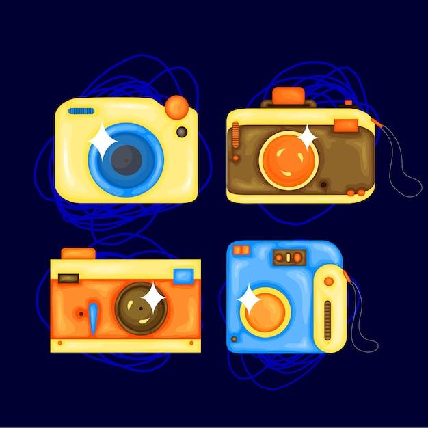 Stel cartoon vectorillustratie van de fotocamera. cartoon-stijl ontwerpelement voor sticker, print, poster, site, album, kleding. Premium Vector
