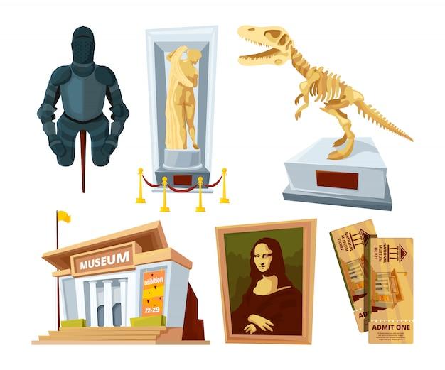 Stel cartoonfoto's van het museum in met tentoonstellingspod en gereedschappen uit verschillende historische periodes Premium Vector