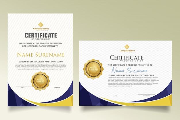 Stel certificaatsjabloon in met dynamische en futuristische veelhoekige vormen Premium Vector