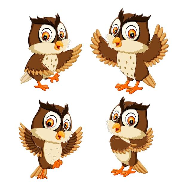 Stel collectie van cartoon van de uilvogel Premium Vector