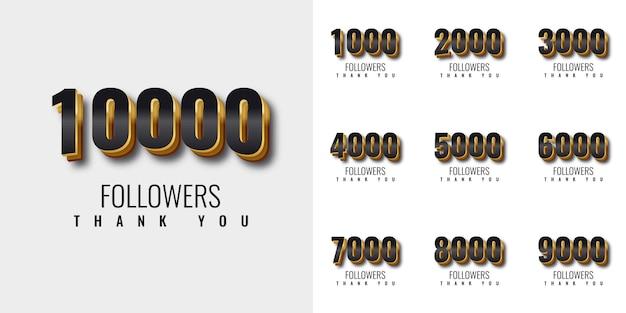 Stel dank u 1000 volgers in op 10000 volgers gouden nummer sjabloonontwerp Premium Vector