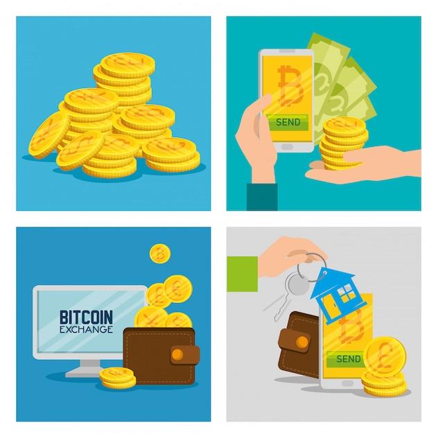 Stel de elektronische bitcoin-valuta in om geld te wisselen Gratis Vector