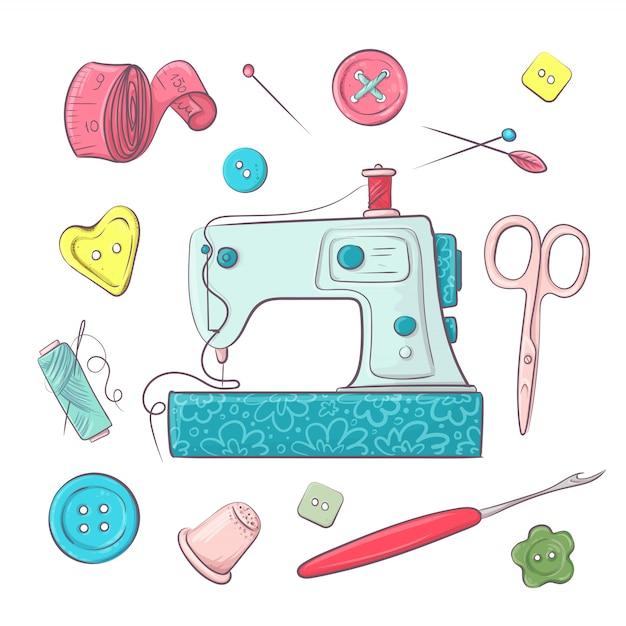 Stel de naai-accessoires van de naaimachine in. Premium Vector
