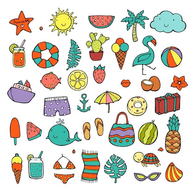 Stel de zomer pictogrammen eten, drinken, palmbladeren, fruit en flamingo. Premium Vector