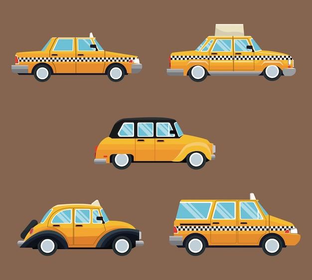 Stel een ander zijaanzicht van de taxi in Premium Vector