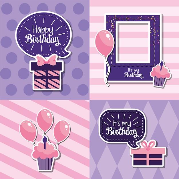 Stel een gelukkige verjaardagsdecoratie in om het feest te vieren Premium Vector