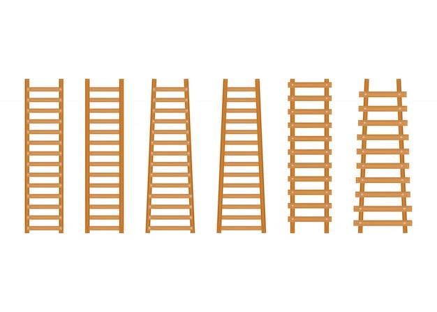 Stel een houten laddertje in Premium Vector