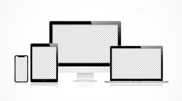 Stel een moderne computer in Premium Vector
