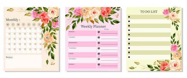 Stel een mooie planner in met aquarel bloemen Premium Vector