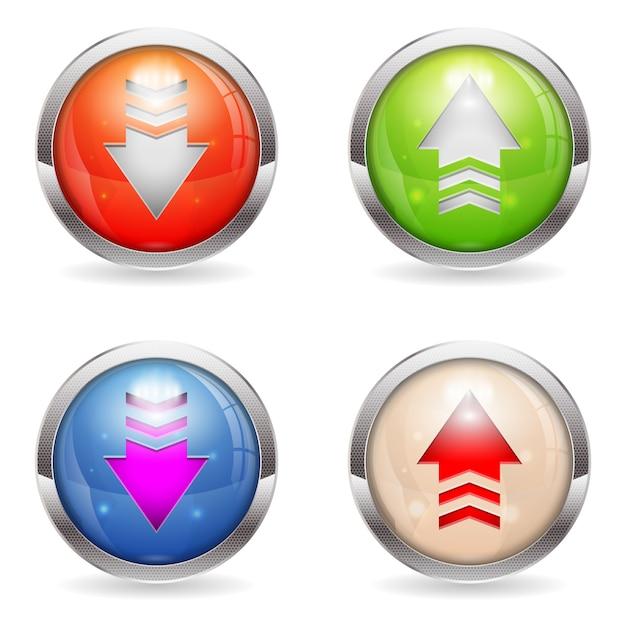 Stel glanzende download- en uploadknoppen in Premium Vector