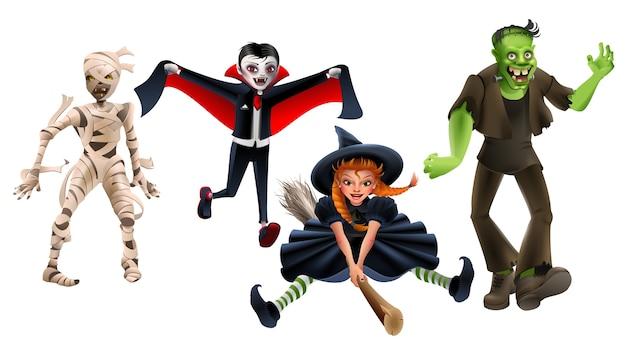Stel halloween-monsters heks op bezem, frankenstein, vampier dracula, zombiemummie. geïsoleerd op wit cartoon afbeelding Premium Vector