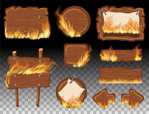 Stel houten spelpanelen met vlamverbranding in. Premium Vector