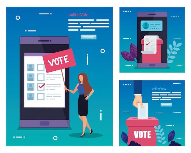 Stel illustratie van de stem Premium Vector