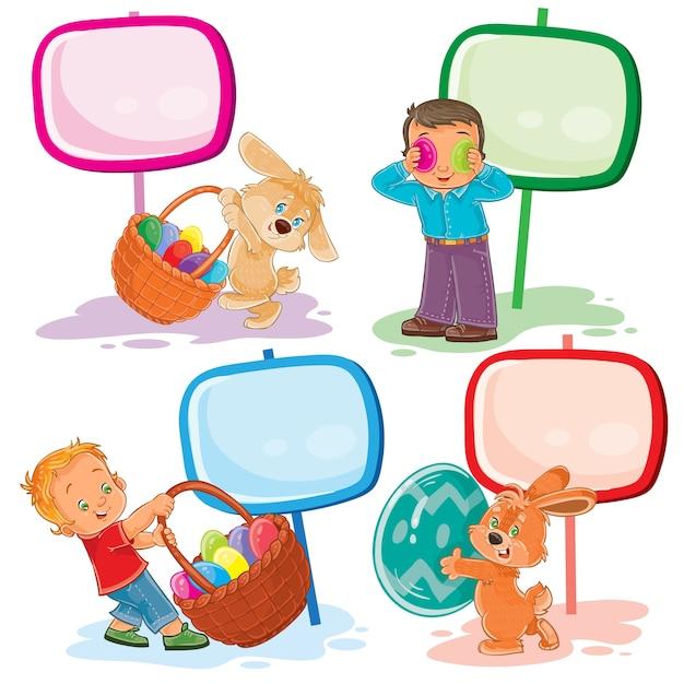 Stel illustraties van clip art met jonge kinderen op het thema van pasen Gratis Vector