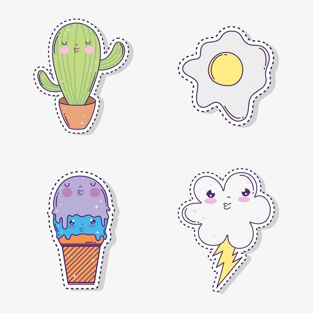 Stel kawaii cactus met ijs en wolk met regenboog Premium Vector