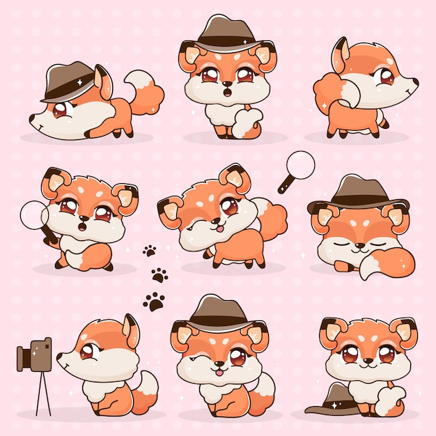Stel kawaii collection fantasy little fox cartoon. Premium Vector