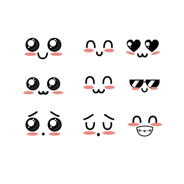 Stel kawaii schattige zachte gezichten met expressie Premium Vector