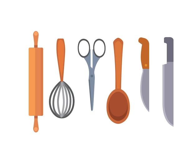 Stel keukengerei in. kookgereedschap stijl. kookapparatuur objecten. Premium Vector