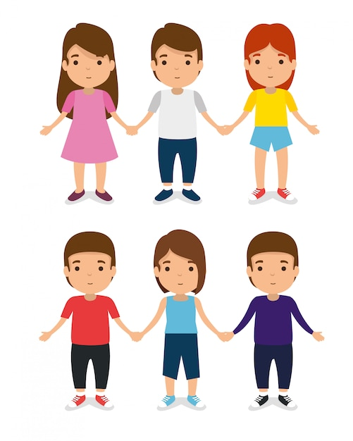 Stel kinderen samen met vrijetijdskleding en speel Gratis Vector