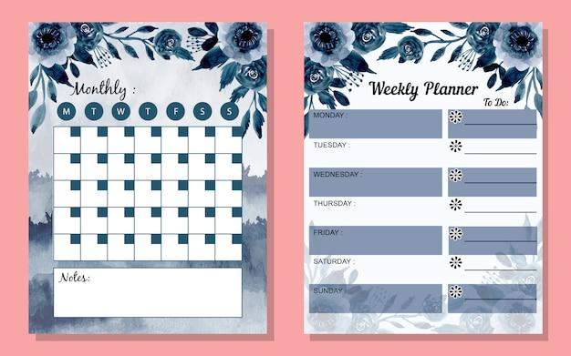 Stel maandelijkse en wekelijkse planner in met waterverfbloem Premium Vector