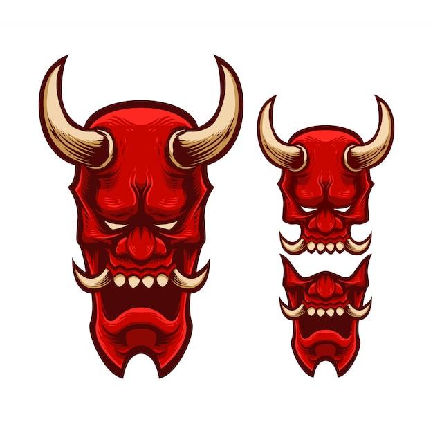 Stel mascotte logo masker japan oni Premium Vector