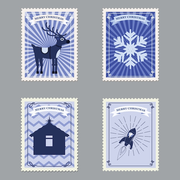 Stel merry christmas retro postzegels met raket, herten en sneeuwvlokken in Premium Vector