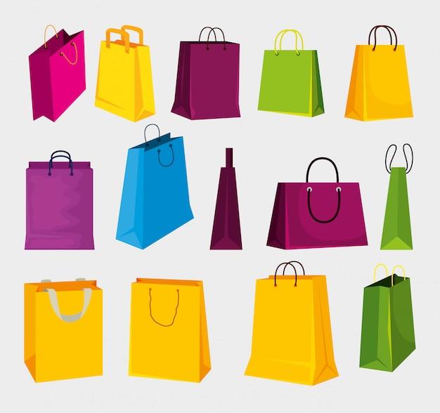 Stel modetassen in op winkelen op de markt Gratis Vector