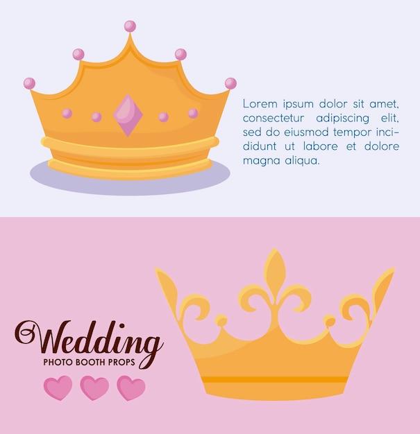 Stel monarchale kronen van koningin en koning in Gratis Vector