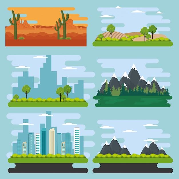 Stel natuurlijke landschapsscènes in Gratis Vector