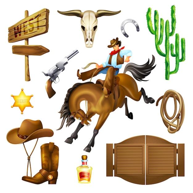 Stel objecten in van accessoires en objecten in het wilde westen. Premium Vector