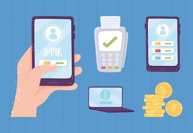 Stel online bankieren pos terminal smartphone munten geld illustratie Premium Vector