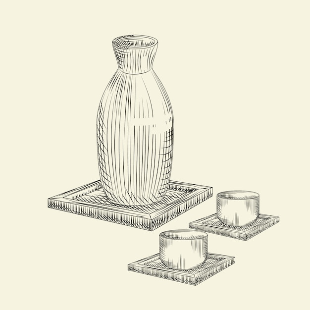 Stel os japanse belang en kop geïsoleerd in. keramische fles sake hand getrokken schets. Premium Vector