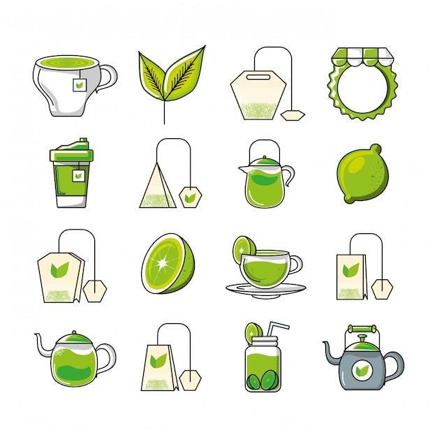 Stel pictogrammen met thee en gereedschap keuken Premium Vector