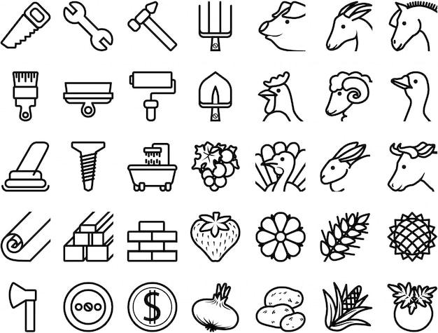 Stel pictogrammen reparatie, bouwmaterialen, landbouwhuisdieren, planten in Premium Vector